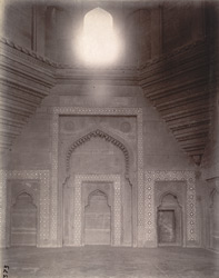 View of corbelling supporting the domes in chapels in the liwan of the Jami Masjid, Fatehpur Sikri 1003590